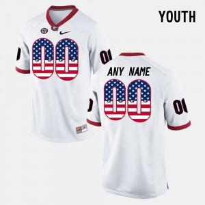 US Flag Fashion White For Kids #00 UGA Custom Jersey 219795-401