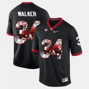 Black #34 Player Pictorial Herschel Walker UGA Jersey For Men's 159541-258