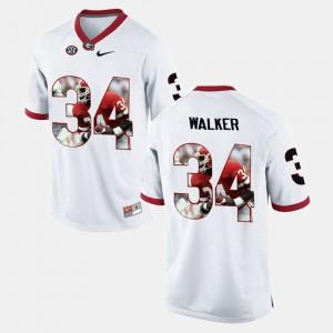 White Player Pictorial Herschel Walker UGA Jersey #34 Mens 584750-883