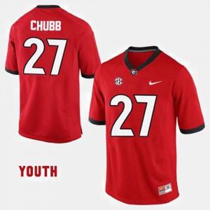 Youth(Kids) #27 College Football Red Nick Chubb UGA Jersey 490138-915