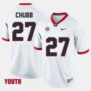 For Kids White College Football #27 Nick Chubb UGA Jersey 587651-259