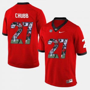 Player Pictorial For Men's Nick Chubb UGA Jersey #27 Red 787659-296
