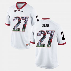 White For Men's Nick Chubb UGA Jersey Player Pictorial #27 579265-506