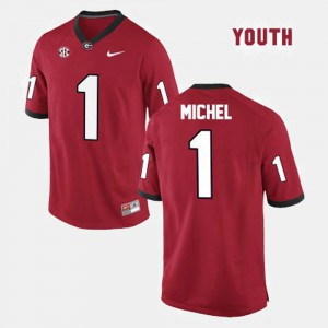 College Football Red Sony Michel UGA Jersey Youth #1 629498-913