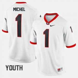 White #1 Sony Michel UGA Jersey College Football Youth(Kids) 776461-569