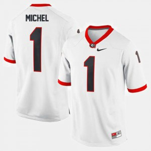 College Football #1 White Sony Michel UGA Jersey Mens 477568-619
