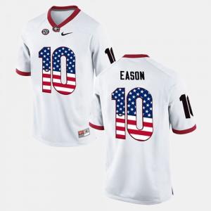 Mens #10 US Flag Fashion White Jacob Eason UGA Jersey 295914-437
