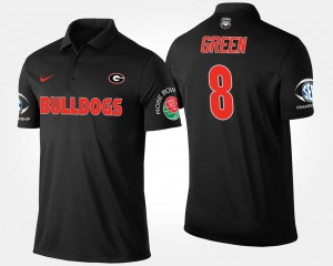 Black For Men's Southeastern Conference Rose Bowl Bowl Game #8 A.J. Green UGA Polo 493562-698