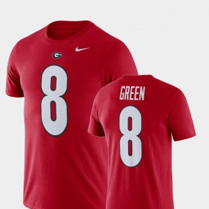 Mens #8 A.J. Green UGA T-Shirt Football Performance Red 356145-712