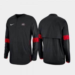 2019 Coaches Sideline UGA Jacket Black Mens Quarter-Zip 748180-634