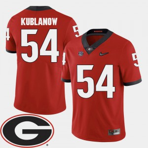 #54 For Men's Brandon Kublanow UGA Jersey Red 2018 SEC Patch College Football 915838-807