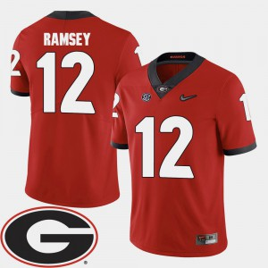 College Football For Men's Brice Ramsey UGA Jersey Red #12 2018 SEC Patch 755244-685