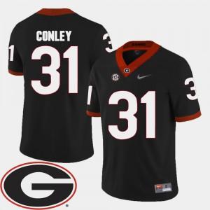 Men Black College Football #31 Chris Conley UGA Jersey 2018 SEC Patch 725439-664