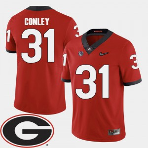 College Football Red 2018 SEC Patch Mens #31 Chris Conley UGA Jersey 636716-121