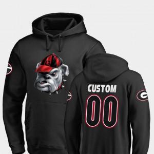 Mens Football UGA Custom Hoodies Black Midnight Mascot #00 961645-990