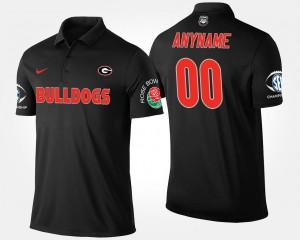 Men Southeastern Conference Rose Bowl Bowl Game UGA Custom Polo #00 Black 298035-333