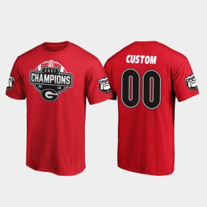 UGA Customized T-Shirts Red Men 2019 SEC East Football Division Champions #00 614910-786