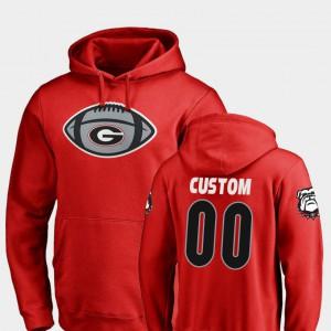 #00 UGA Customized Hoodies Football Men's Game Ball Red 942067-946