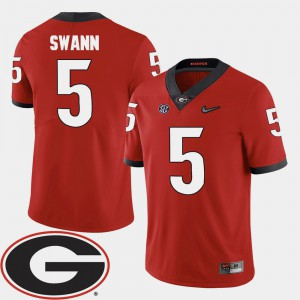 #5 Damian Swann UGA Jersey 2018 SEC Patch Red For Men College Football 990538-972