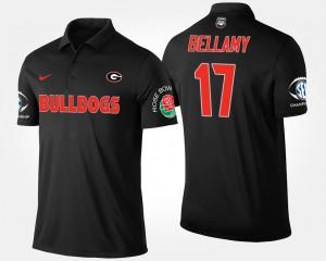 Southeastern Conference Rose Bowl #17 Davin Bellamy UGA Polo Bowl Game Black For Men's 882848-793