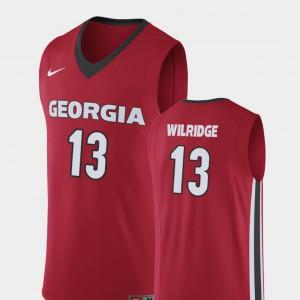 E'Torrion Wilridge UGA Jersey Mens #13 College Basketball Replica Red 832178-249