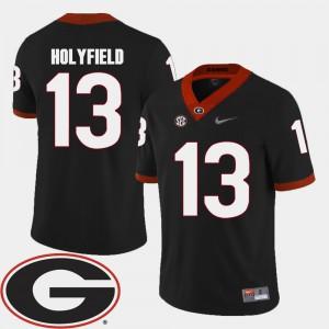 College Football Black For Men Elijah Holyfield UGA Jersey 2018 SEC Patch #13 193563-876