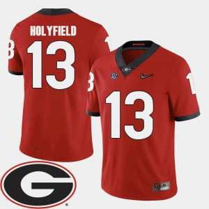 2018 SEC Patch Red For Men Elijah Holyfield UGA Jersey #13 College Football 376252-683