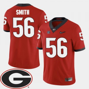 College Football #56 Red 2018 SEC Patch Garrison Smith UGA Jersey For Men's 777322-201