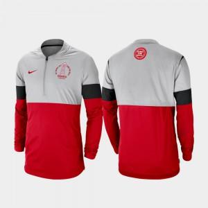 Men UGA Jacket Football Half-Zip Rivalry Gray Red 782422-617