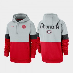 Therma Performance Pullover Mens Gray Red UGA Hoodie Rivalry 342779-541