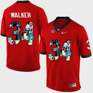 Herschel Walker UGA Jersey #34 Mens Red Pictorial Fashion 181051-524