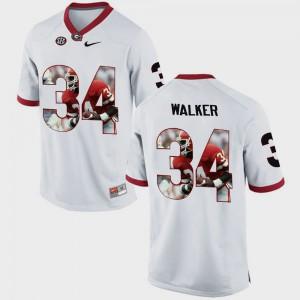 Mens Pictorial Fashion Herschel Walker UGA Jersey White #34 973814-307