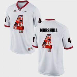 White Mens #4 Pictorial Fashion Keith Marshall UGA Jersey 647074-132
