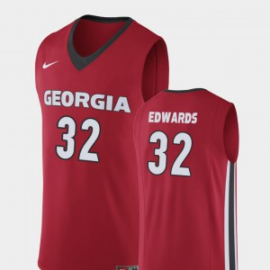 Red College Basketball Mens Replica #32 Mike Edwards UGA Jersey 528637-899