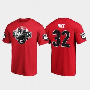 2019 SEC East Football Division Champions Red #32 Men Monty Rice UGA T-Shirt 546386-509