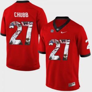 Red Nick Chubb UGA Jersey #27 Pictorial Fashion Men's 887275-522