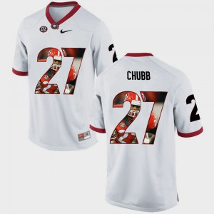 Nick Chubb UGA Jersey Pictorial Fashion #27 White For Men's 808566-354