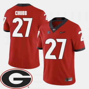 For Men's Nick Chubb UGA Jersey College Football Red 2018 SEC Patch #27 890847-986