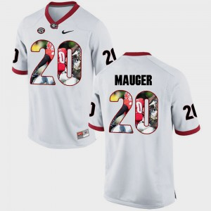 White Quincy Mauger UGA Jersey Pictorial Fashion Men's #20 706317-908