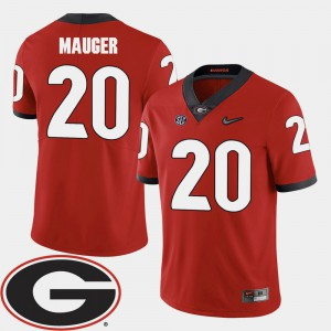 #20 Red For Men's Quincy Mauger UGA Jersey 2018 SEC Patch College Football 676774-747