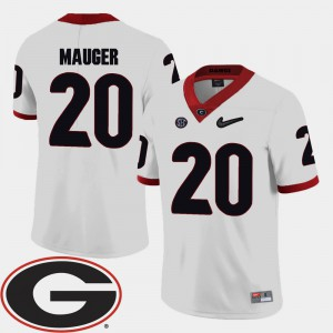 White #20 College Football Mens 2018 SEC Patch Quincy Mauger UGA Jersey 250682-404