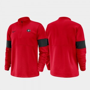 For Men Red UGA Jacket Half-Zip Performance 2019 Coaches Sideline 268980-246