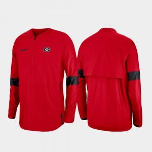 Red For Men's UGA Jacket Quarter-Zip 2019 Coaches Sideline 345801-283