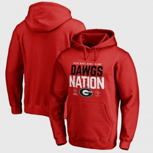 For Men's Red UGA Hoodie Bowl Game College Football Playoff 2018 Rose Bowl Bound Delay 557678-314