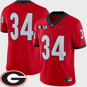 #34 Mens UGA Jersey Red 2018 National Championship Playoff Game College Football 393965-456