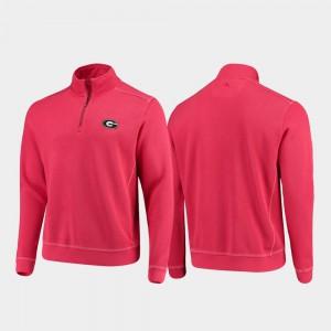 For Men College Sport Nassau UGA Jacket Half-Zip Pullover Tommy Bahama Red 391247-893