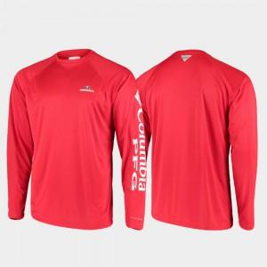 Men PFG Terminal Tackle Long Sleeve Omni-Shade UGA T-Shirt Red 736759-630