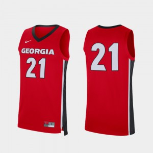 UGA Jersey Red Replica #21 For Men College Basketball 388588-875
