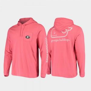 Whale UGA T-Shirt Red Hooded Long Sleeve Men 549049-143