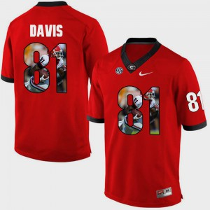 Men's #81 Reggie Davis UGA Jersey Red Pictorial Fashion 132062-896
